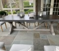 Restoration Hardware Belgian Trestle Concrete Teak Dining Table The Local Vault