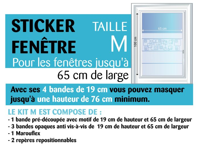 contenu d'un stickers pour une fenêtre de 65 cm
