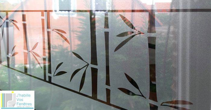 fenêtre bureau avec adhésif dépoli motif bambou
