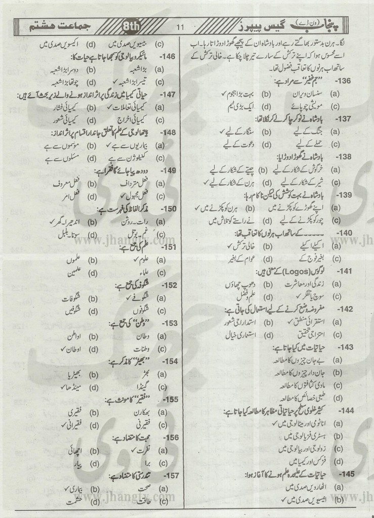 8th Class Guess Papers Science English medium Punjab Board
