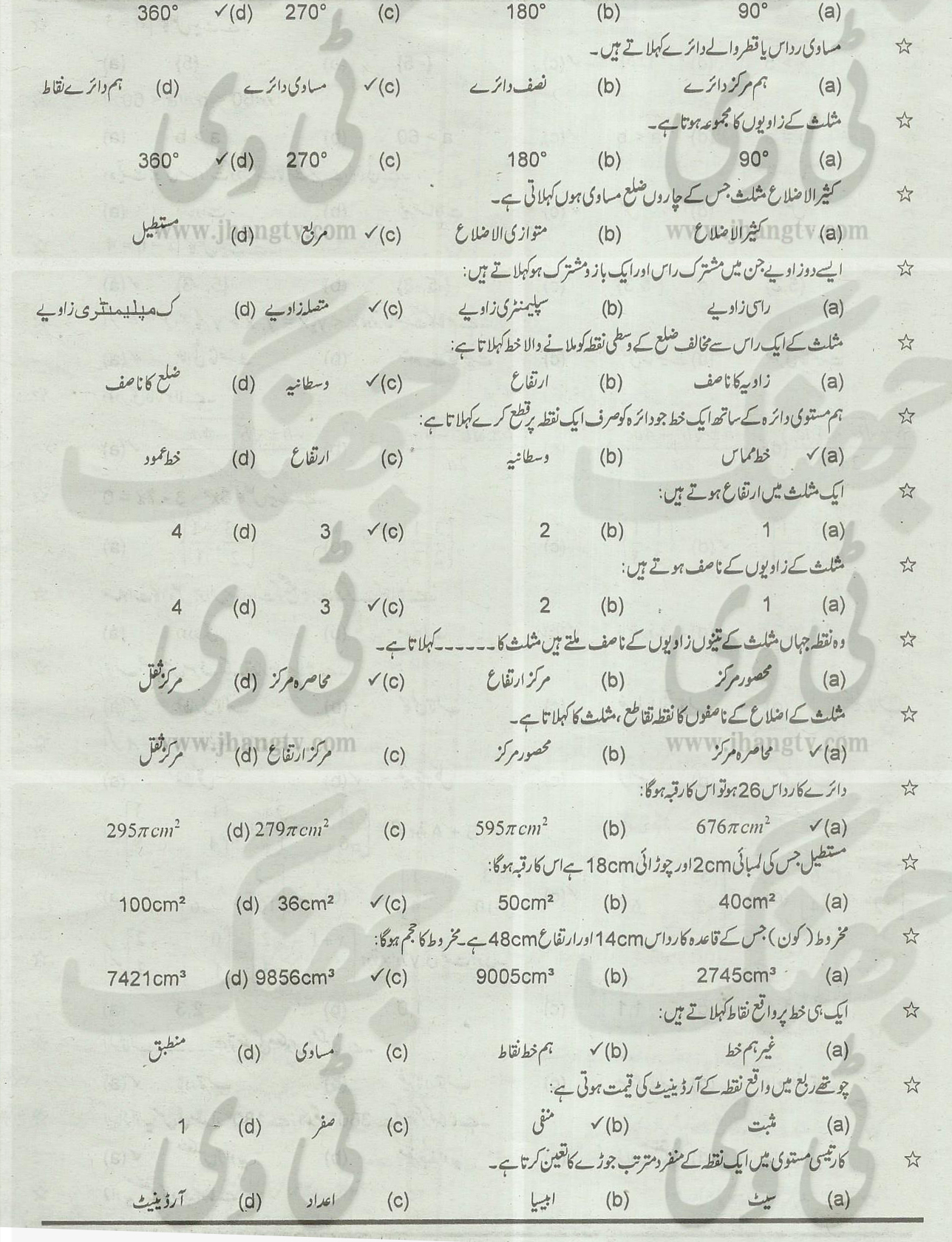 10th Class Guess Papers General Math 2014 All Boards