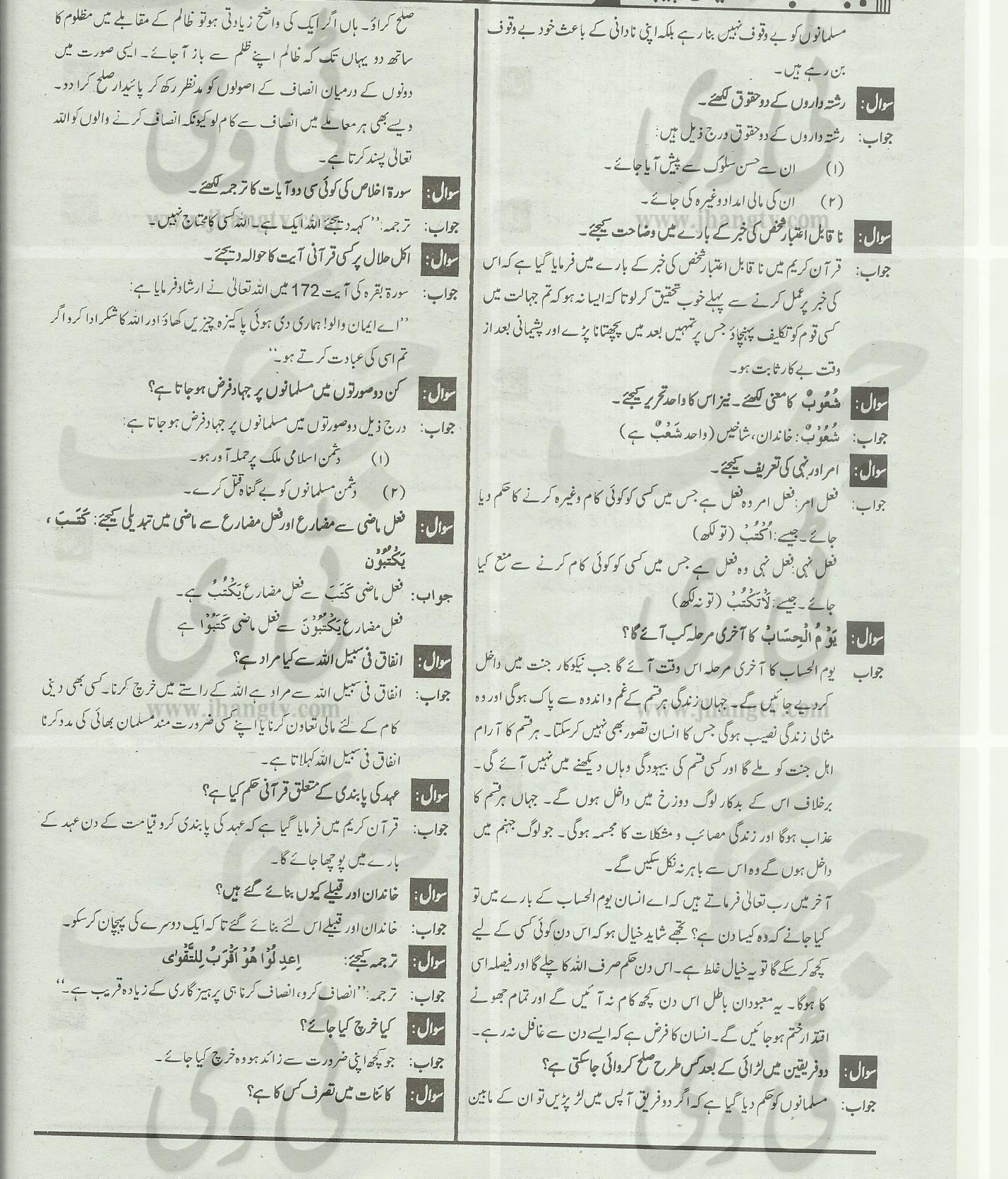 10th Class Guess Papers Islamiat Elective 2014 All Boards