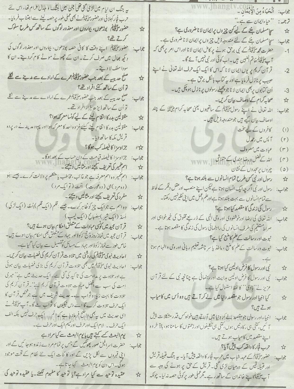 9th Class Guess Papers islamiat Elective 2014 All Boards