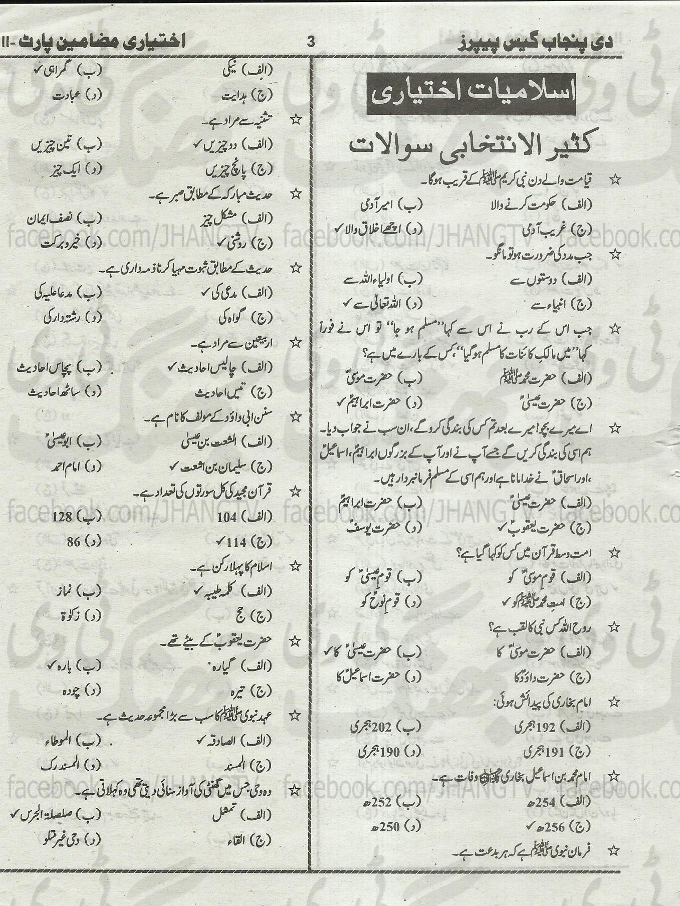 12th Class Guess Papers Islamiat Elective 2014 All Boards