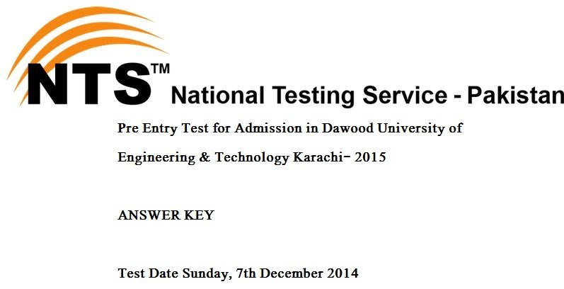 NTS Answer Keys PDF Dawood University Engineering
