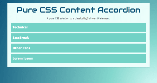 Easily Customizable Responsive Pure CSS Accordion Example