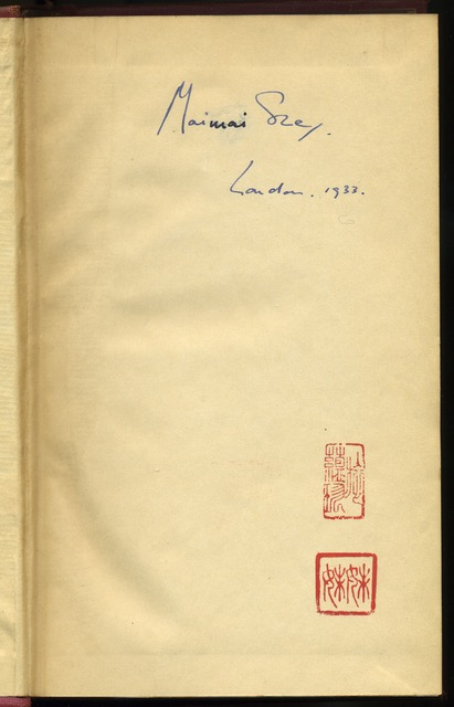 """Mai-mai Sze's copy of John Donne: Complete Poetry and Selected Prose.  London: The Nonesuch Press, 1932.  Clipping laid in at rear cover.  Smith, A. J. """"A John Donne Poem in Holograph."""" Times Literary Supplement [London, England] 7 Jan. 1972: 19. Times Literary Supplement Historical Archive. Web. 16 Apr. 2015."""