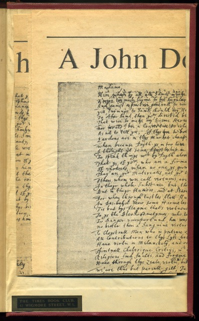 """Clipping laid in at rear cover. Smith, A. J. """"A John Donne Poem in Holograph."""" Times Literary Supplement [London, England] 7 Jan. 1972: 19. Times Literary Supplement Historical Archive. Web. 16 Apr. 2015."""