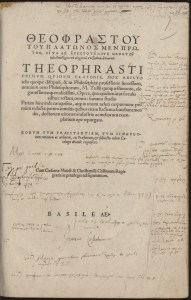 Casaubon's annotated copy of Theophrastus. By permission of the Special Collections of the University of Amsterdam. Shelf mark: OTM: Hs VII D17.