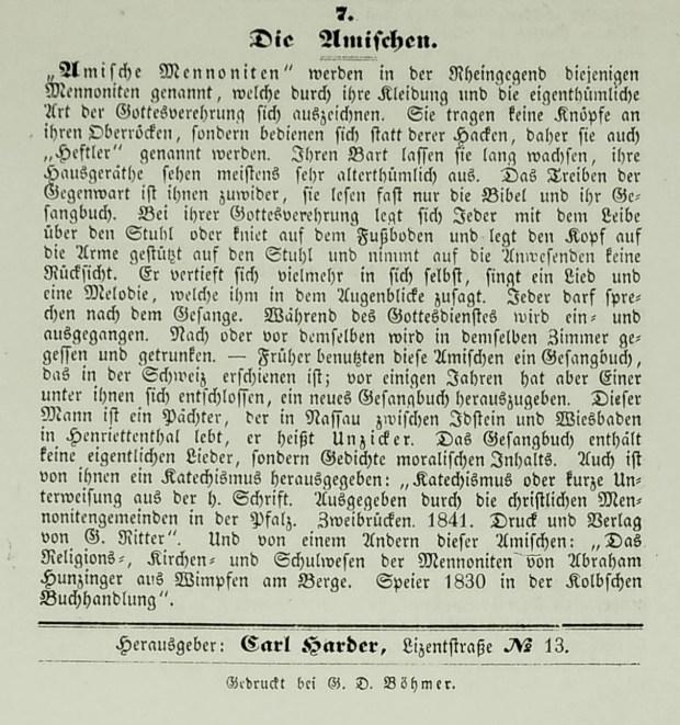 """Carl Harder's brief remarks on """"The Amish."""" (Monatsschrift für die evangelischen Mennoniten, October 1847, p. 16.)"""