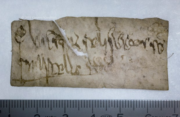 This eighth-century relic label for relics of Pope Marcellus comes from the large body of labels that survive from the Sens cathedral treasury. It features a decorated chrismon, or cross, at the beginning (not uncommon for a label), as well as a series of markings at the end that might be the scribe's monogram or a note in a bureaucratic shorthand system called Tironian notes. Both of these features make it look like a tiny legal document. ChLA Vol. 19 No. 682:LIII Image courtesy Genevra Kornbluth.