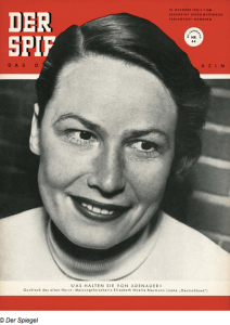 Elisabeth Noelle-Neumann, co-founder of the Institut für Demoskopie, Allensbach on the cover of Der Spiegel (October 1953).