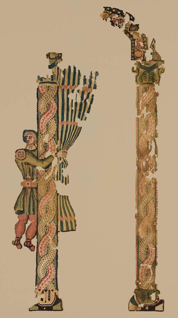 'Designing Identity' has a lot of delightful twists. Take this hanging (fifth century, possibly from Egypt, now belonging to the MFA) with a servant dressed in a tunic who is pulling back a curtain in a stone arcade. How often do premodernists get to see cloth depicted in cloth, let alone alongside stone and flesh and in such vivid polychromy? Elsewhere in the same gallery, there are three complete tunics: one for an adult, one for a child, and one for a doll.