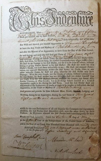 Second of two indentures to Samuel Campbell, New-York Historical Society.