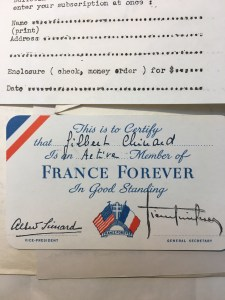Bernard piece, France Forever membership card