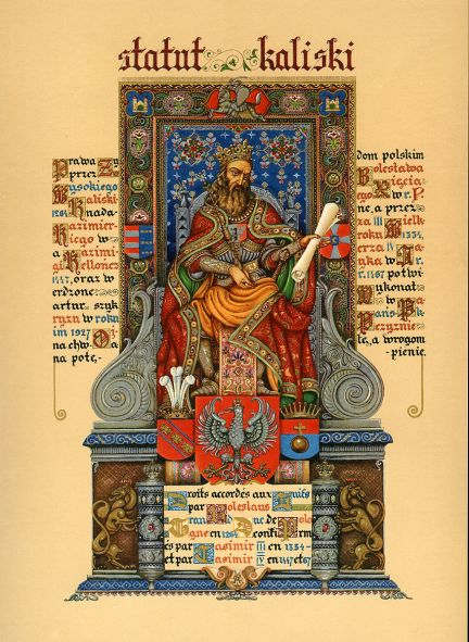 Arthur_Szyk_(1894-1951)._Statute_of_Kalisz,_frontispiece_(Casimir_the_Great)_(1927),_Paris