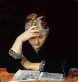 At a Book (oil on canvas)