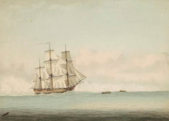HMS_Endeavour_off_the_coast_of_New_Holland,_by_Samuel_Atkins_c.1794