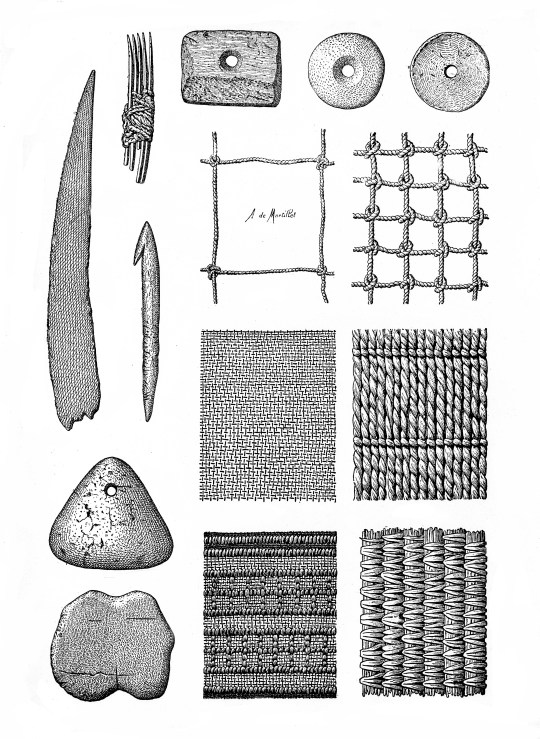 M0015197 Prehistoric fishing gear, nets, weaving etc.