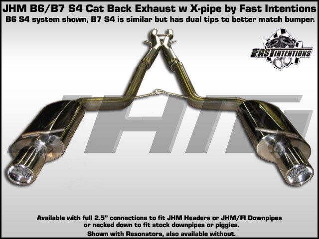 exhaust cat back jhm b6 s4 stainless steel 2 5 w x pipe by fi