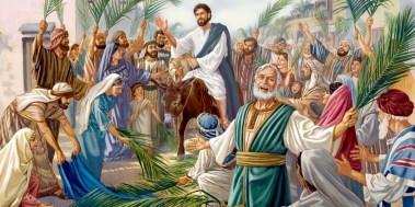 Yeshua Messiah menunggangi keledai muda masuk ke kota Yerusalem