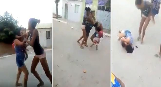 Duas mulheres espancam mãe e seu bebê no meio da rua