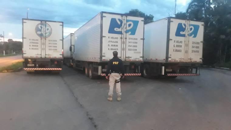 PRF apreende 13 caminhões de distribuidoras que transportava produtos perigosos de forma indevida