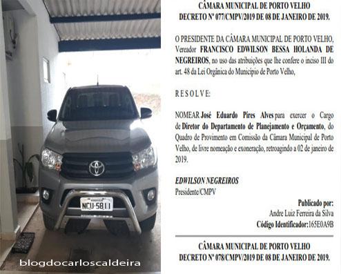 Servidor da Câmara que se apropriou de caminhonete ganhou novo cargo, foi para o Peru e levou chave do veículo
