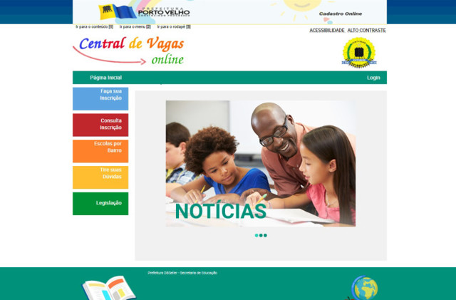 Porto Velho: Sistema de Chamada Escolar Online volta a funcionar normalmente