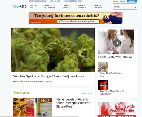 Screenshot from WebMD's website landing page.