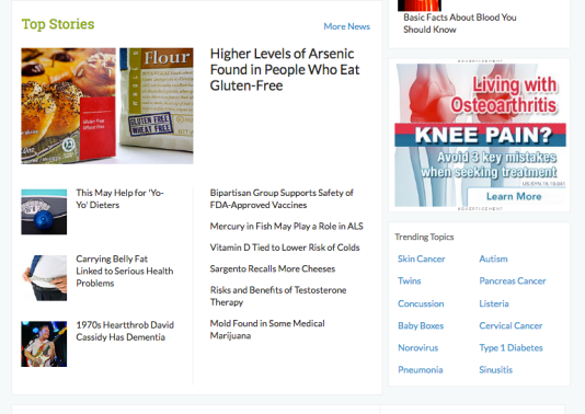 Screenshot of top health news stories on WebMD landing page.