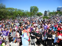 Crowd outside the Manitoba Legislative Assembly for the Pride Day Rally. Photo by Rachel Swatek