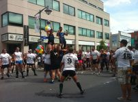 Ottawa's official gay rugby teams, the Muddy York and Ottawa Wolves, partnering up. Photo by Brianna Harris