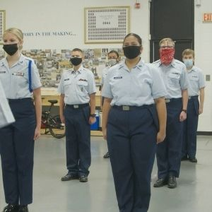 ROTC students standing in rows