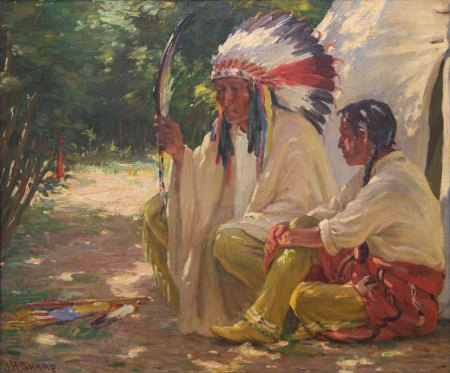 "Joseph Henry Sharp, Chief White Weasel and Son, Oil, 29.5"" x 33.5"""