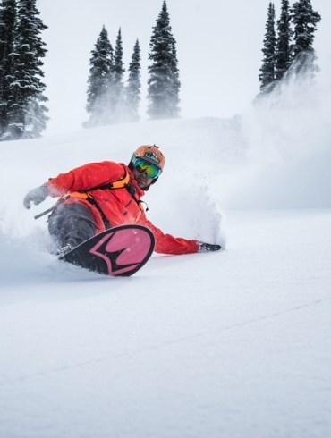 Snowboarding. 18-19 JHSM. Seth Wescott making a turn in British Columbia. Photo: Chad Chomlack.