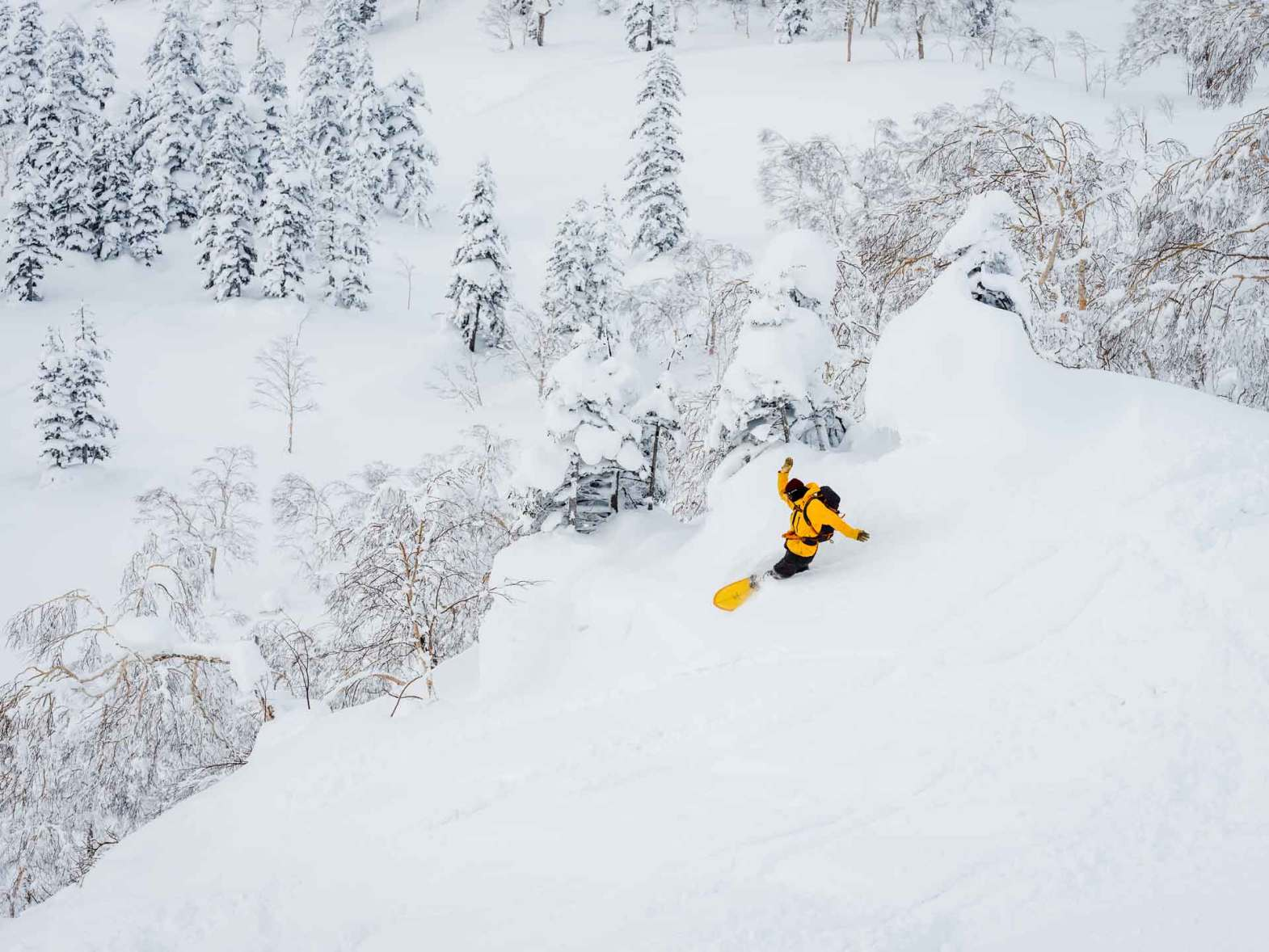 Snowboarder riding through powder on an Elevated SurfCraft board in Japan.