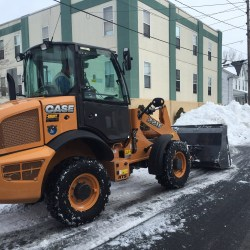 Clearing a commercial parking lot from snow