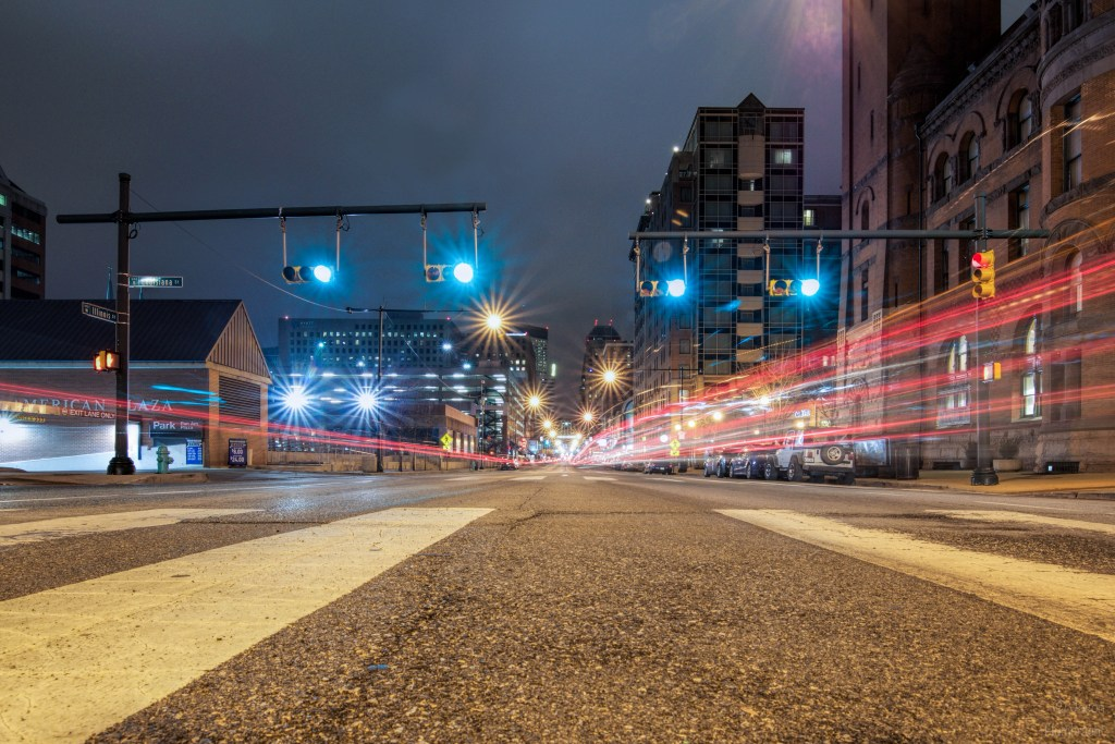 Indianapolis Streets at Night | Light Trails | Image By Indiana Architectural Photographer Jason Humbracht