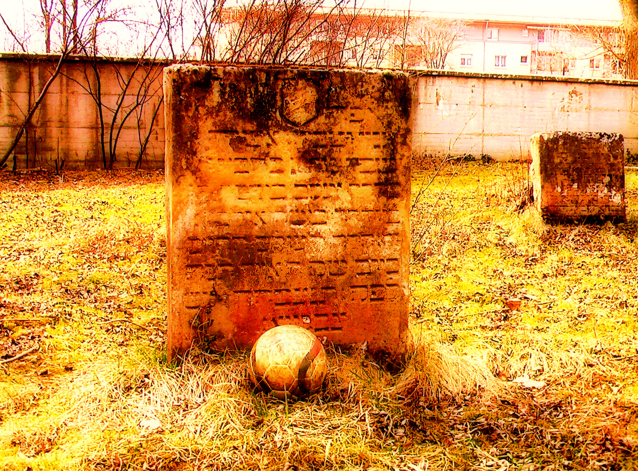 17 th Century Ulmo grave marker with football
