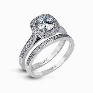 Simon G engagement ring and wedding band