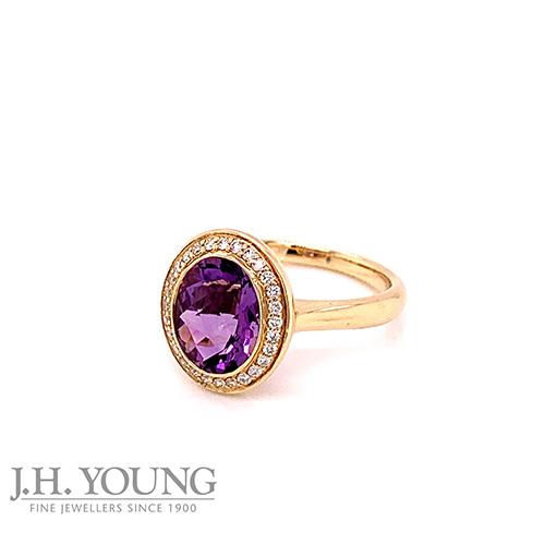 Purple, Diamond and Gold Ring