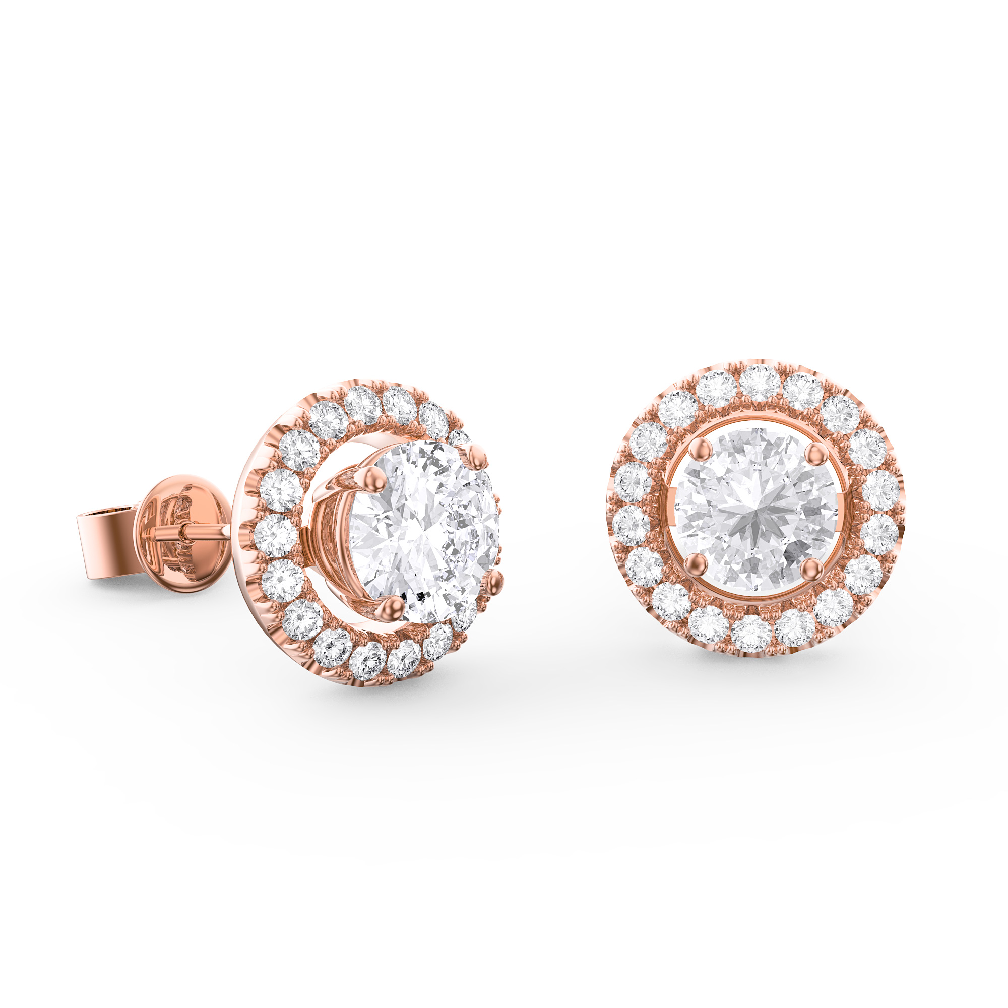 Fusion GH SI Diamond 18ct Rose Gold Earring Halo Jackets