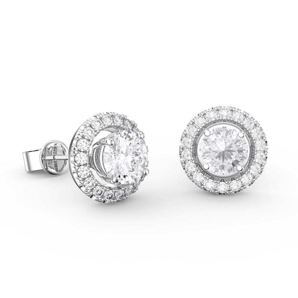 Fusion 12ct Diamond 18ct White Gold Stud Earrings Halo