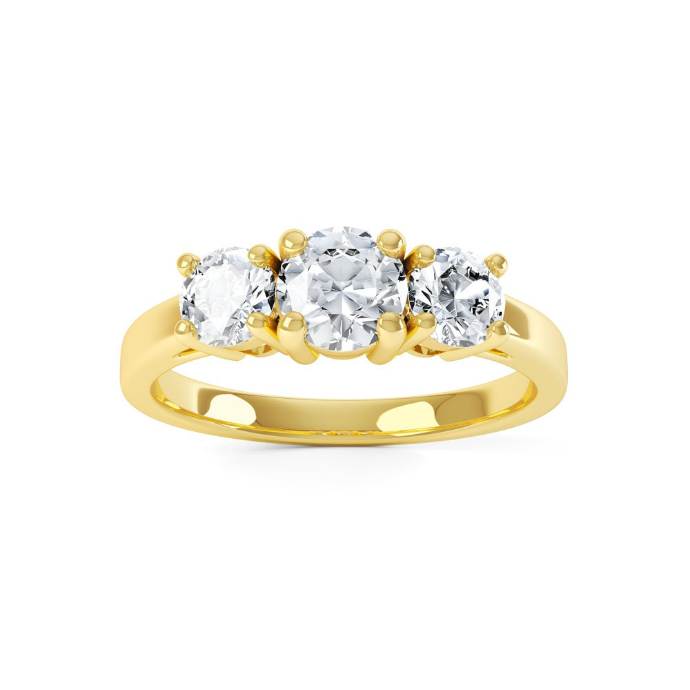 Eternity Three Stone Diamond 18ct Yellow Gold Engagement
