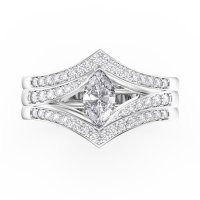 Unity Marquise White Sapphire Platinum plated Silver ...