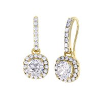 Princess 2ct Diamond Halo 18ct Yellow Gold Pave Drop ...