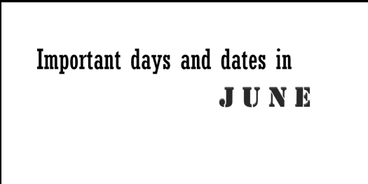 Important days and dates in june, International days, Planning and programme