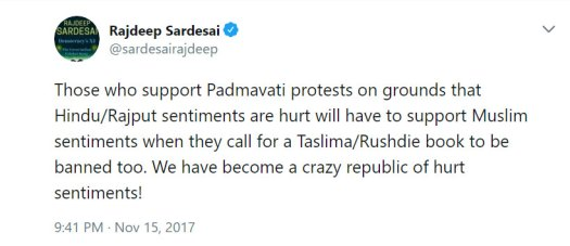 Rajdeep Sardesai tweet on padmavati