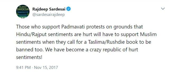 Rajdeep Sardesai tweet on padmavati